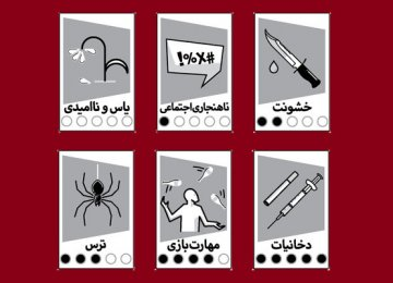 A sample of the new pictograms, clockwise from top left: 'despair', 'social ills', 'violence', 'fear', 'game skill' and 'drugs'.