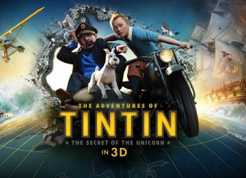 A poster of 'The Adventures of Tintin: The Secret of the Unicorn'