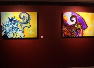 Raheleh Rowshandel's paintings at the exhibit