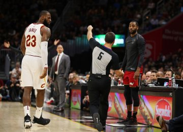 The referee assessed James with a technical foul  and ejected him from the game.