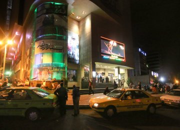 A view of Azadi Cineplex in central Tehran during last Ramadan, after midnight.