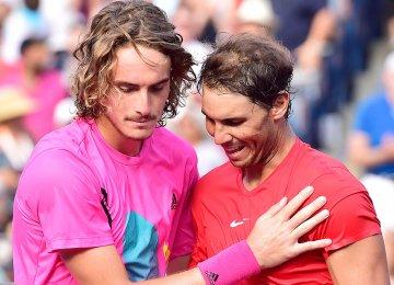 Rafael Nadal (R) and Stefanos Tsitsipas
