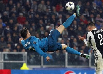 Cristiano Ronaldo scored a sensational bicycle kick goal.