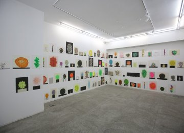 A view of David Batchelor's works at the gallery