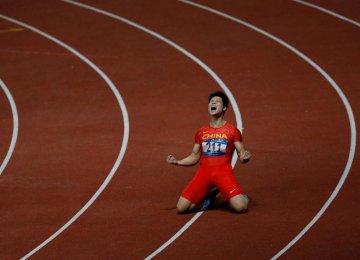 Chinese Sprinter Wins Gold in 100m, Iran's Taftian Sixth