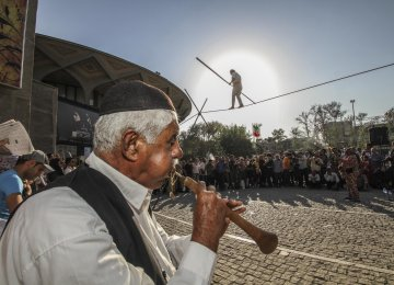 A participant playing sorna, ancient Iranian woodwind instrument, at an earlier edition of the festival