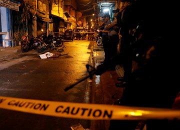 Body of a man killed in Pasig, Metro Manila, on Feb. 1.