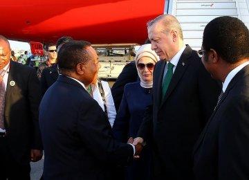 Turkish President Recep Tayyip Erdogan(2nd R) arrived  in Tanzania on Jan. 22.