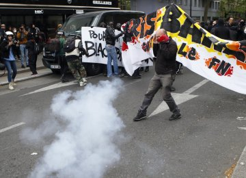 The protest march headed from suburban Aubervilliers  to Paris on April 16.