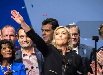 Marine Le Pen (C) held a rally in Lyon, France, on Feb. 5.