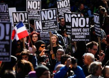 """Not My Presidents' Day"" rally in Manhattan, New York, Feb. 20"