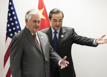 US Secretary of State Rex Tillerson (L) and China's Foreign Minister Wang Yi meet on the sidelines of the G20 in Bonn, western Germany, on Feb. 17.