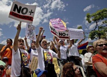 Protests were held in Caracas, Venezuela, on April 1.