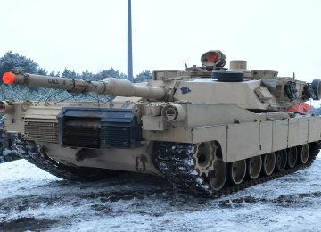 A US M1A2 Abrams Tank during railhead operations in Swietozow, Poland, on Jan. 9
