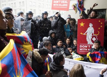 Tibetan and Swiss nationals gathered to protest the arrival of China's Xi Jinping in Bern, Switzerland, on Jan. 15.