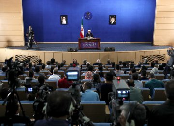 President Hassan Rouhani speaks at a press conference in Tehran on May 22.