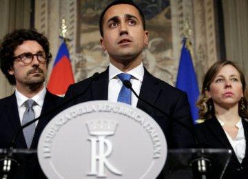 5-Star leader Luigi Di Maio speaks following a talk with Italian President Sergio Mattarella in Rome on April 12.