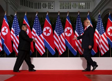 US President Donald Trump meets North Korean Leader Kim Jong-un in Singapore on June 12.