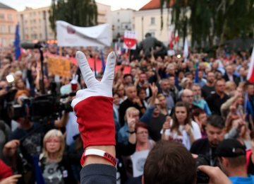 Protesters gather in front of Poland's Supreme Court building in Warsaw on July 4.