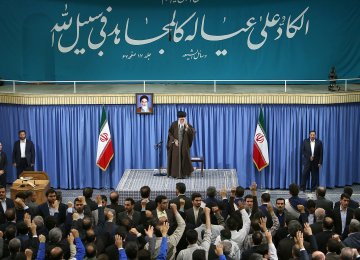 Ayatollah Seyyed Ali Khamenei addresses a gathering of workers in Tehran on April 30.