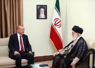 Leader of the Islamic Revolution Ayatollah Seyed Ali Khamenei (R) conferred with Turkey's President Recep Tayyip Erdogan in Tehran on Friday.