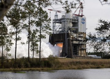 NASA Test-Fires Megarocket Engine