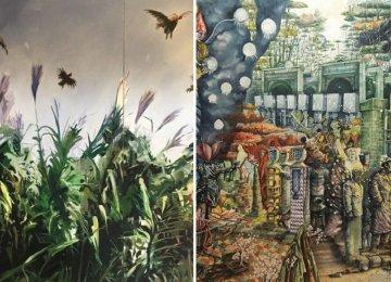 Artworks by Farzan Sadjadi (L) and Behrang Samadzadegan will be displayed by Shirin Gallery