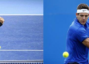 Roger Federer (L) and Juan Martin del Potro