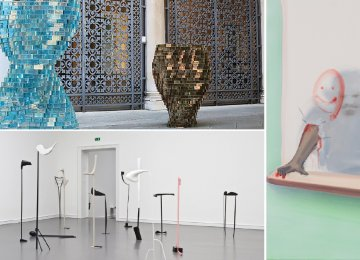 Works by Shirazeh Houshiary (left top), Nairy Baghramian (left bottom) and Tala Madani