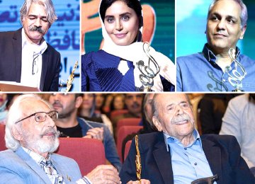 Winners of Hafez Award (clockwise from top left): Navid Mohammadzadeh, Keyahn Kalhor, Elnaz Shakerdoust, Mehran Modiri, Houman Seyedi, Fatemeh Motamed-Arya,  Mohammad-Ali Keshavarz, Jamshid Mashayekhi (presenter of the award) and Sareh Bayat