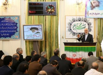 Foreign Minister Mohammad Javad Zarif addresses a gathering of Foreign Ministry officials in Tehran on April 4.