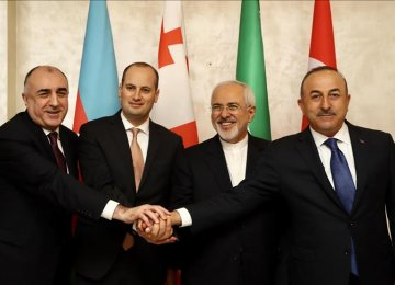 (From L) Foreign ministers of Azerbaijan, Elmar Mammadyarov; Georgia, Mikheil Janelidze; Iran, Mohammad Javad Zarif; and Turkey, Mevlut Cavusoglu meet in Baku on March 15.