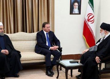 Ayatollah Seyyed Ali Khamenei receives Swedish Premier Stefan Lofven (C), as President Hassan Rouhani (L) looks on, in Tehran on Feb. 11.