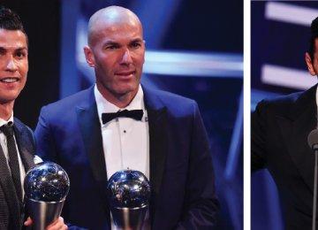 Cristiano Ronaldo (L), Zinedine Zidane (C) and Gianluigi Buffon