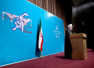 President Hassan Rouhani attends a ceremony at the University of Tehran to commemorate National Students Day on Dec. 6.