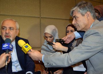 Foreign Minister Mohammad Javad Zarif speaks to reporters in New Delhi, India, on Dec. 3.