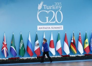 Angela Merkel at the G20 summit in Antalya, Turkey, in Nov. 2015.