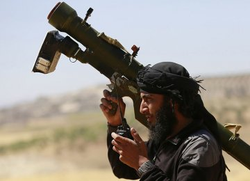 A militant holding a man-portable air defense systems