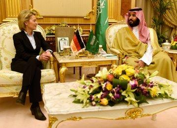 German Defense Minister Ursula von der Leyen (L) meets her Saudi Arabian counterpart, Mohammad bin Salman Al Saud, in Riyadh.