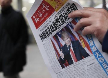 Donald Trump features on the first page of a Chinese paper after his talk with Taiwanese President Tsai Ing-wen.