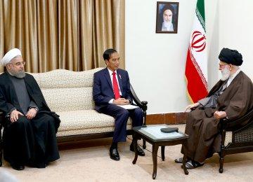 Ayatollah Seyyed Ali Khamenei receives Indonesian President Joko Widodo (C), as President Hassan Rouhani looks on, in Tehran on Dec. 14.