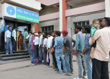 Huge queue outside the ATM in Mumbai.