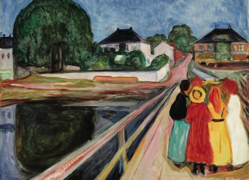 Detail of Edvard Munch's 1902 painting 'Girls on the Bridge' sold for $54.5 million at Sotheby's in New York on Monday.