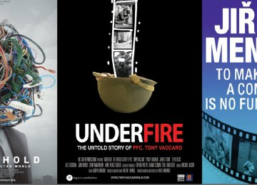 Posters of 'Lo and Behold: Reveries of a Connected World' (L), 'Underfire: The Untold Story of Pfc. Tony Vaccaro'  (C) and  'To Make a Comedy Is No Fun'