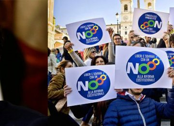 "Matteo Renzi (R) would resign one minute after the result if the referendum produced a win for the ""no"" campaign."