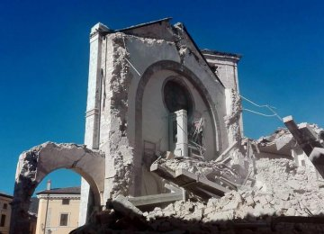 The 14th-century Cathedral of St Benedict was among the historical sites hit by the quake.