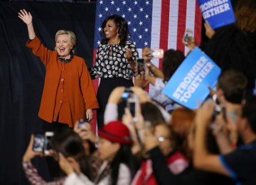Hillary Clinton's 1st Campaign Appearance With Michelle Obama