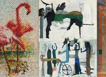 '2 Flamingos' by Farhad Moshiri (L), 'Persepolis' by Parviz Tanavoli (C) and 'Composition 3' by Faramarz Pilaram