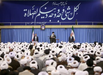 Ayatollah Seyyed Ali Khamenei addresses prayer leaders in Tehran on Aug. 21.