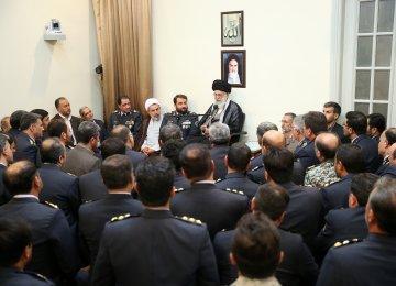 Ayatollah Seyyed Ali Khamenei receives commanders of the air defense base in Tehran on Aug. 28.